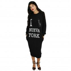 """Vestido punto rayas gris/negro """"I love NY"""" FANNY COUTURE"""