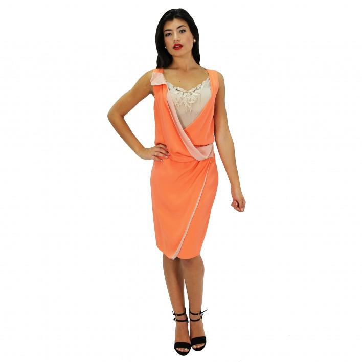 Vestido seda naranja BLUMARINE