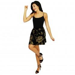 Falda con vuelo estampado negro/beige FANNY COUTURE