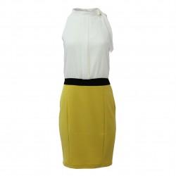 Vestido bicolor lazada cuello XTSY