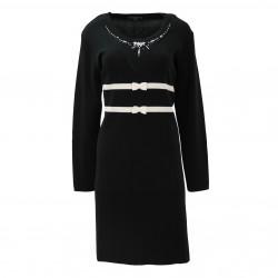 Vestido negro lazos blanco ELISA FANTI