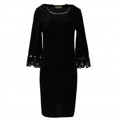 Vestido negro escote crochet ELISA FANTI