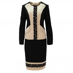Falda bicolor negro/beige ELISA FANTI