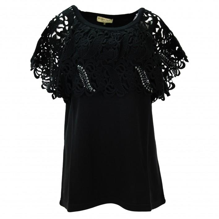 Jersey cuello crochet negro ELISA FANTI