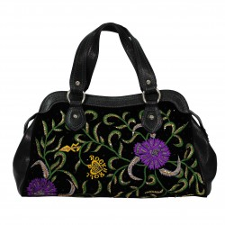 Bolso de mano negro con bordados JOHN RICHMOND