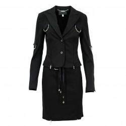 Traje chaqueta falda anillas y cremalleras negro (2 pzas) JOHN RICHMOND