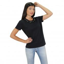 Camiseta manga corta con pedreria cuello PRADA
