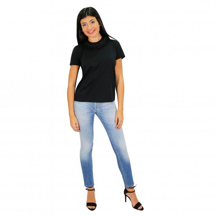 Camiseta manga corta con apliaciones lentejuelas cuello PRADA