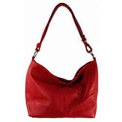 Bolso doble asa liso 100%PIEL MADE IN ITALY rojo