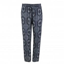 Pantalón fluido estampado gris/azul