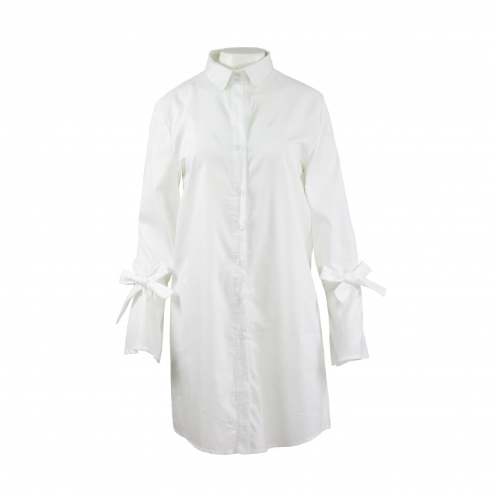 Vestido camisero lazada manga blanco