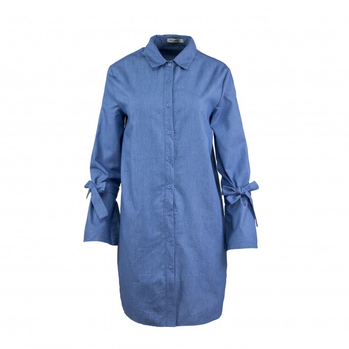 Vestido camisero lazada manga azul denim