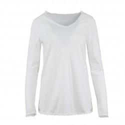 Camiseta cuello pico con borlitas en cuello y mangas blanco MADE IN ITALY