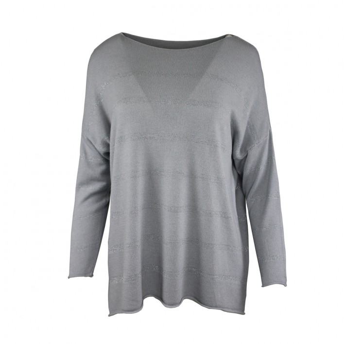 Jersey modal rayas hilo metalizado gris plateado MADE IN ITALY