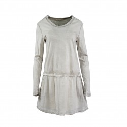 Vestido cotone lavado beige MADE IN ITALY
