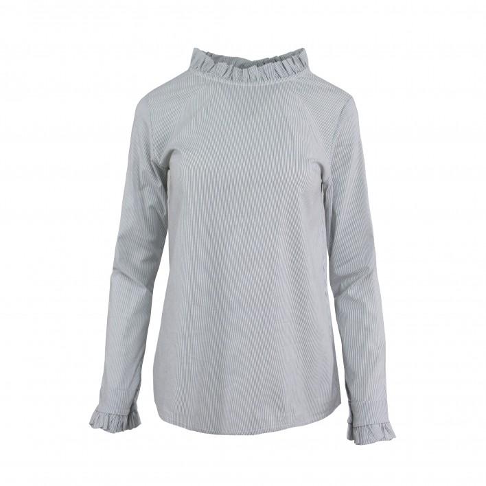 Blusa rayas cuello volantito MADE IN ITALY gris
