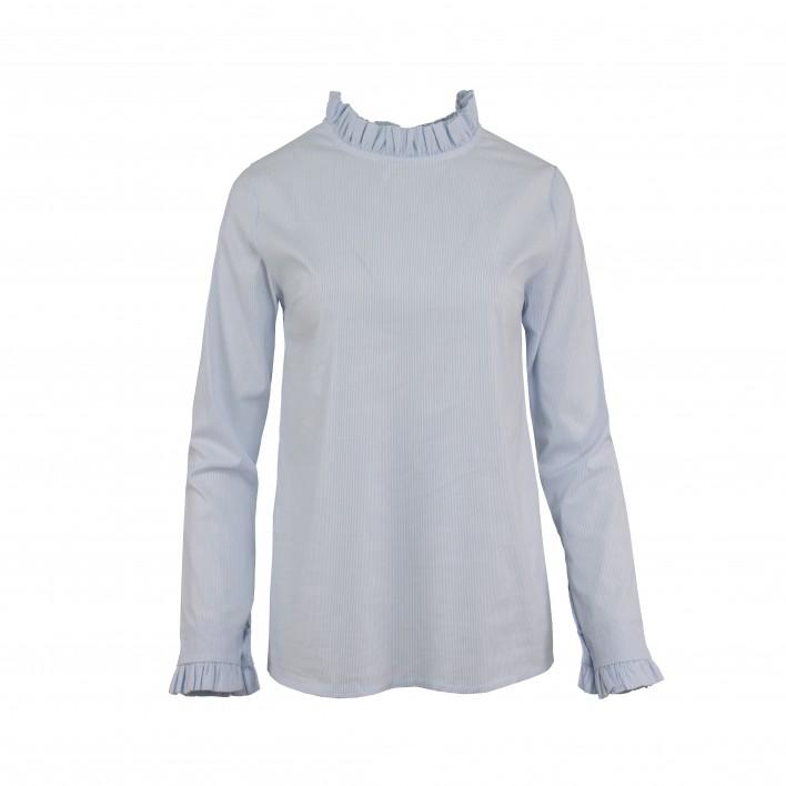 Blusa rayas cuello volantito MADE IN ITALY azul claro