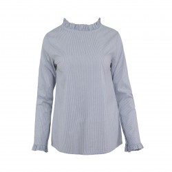 Blusa rayas cuello volantito MADE IN ITALY azul oscuro