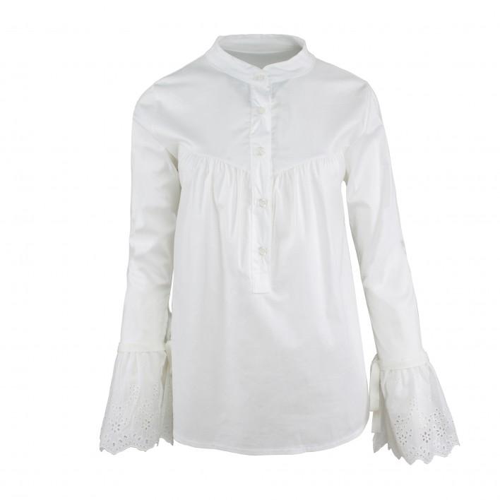 Camisa puño volante bordado MADE IN ITALY blanco