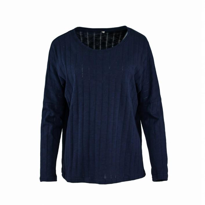 Sudadera camiseta azul marino MADE IN ITALY