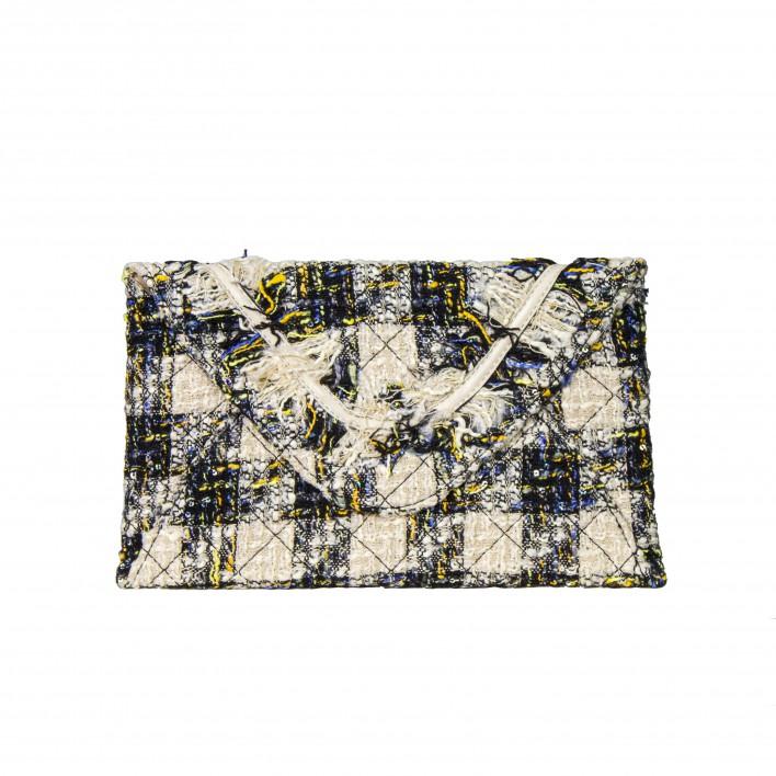 Bolso clutch cartera de mano tipo sobre tejido multicolor beige