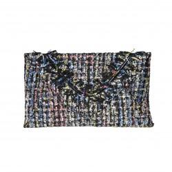 Bolso clutch cartera de mano tipo sobre tejido multicolor gris