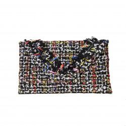 Bolso clutch cartera de mano tipo sobre tejido multicolor negro