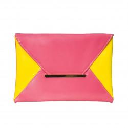 Bolso clutch cartera de mano charol bicolor rosa/amarillo