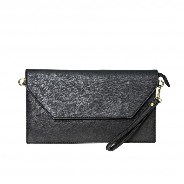 Bolso clutch cartera de mano sobre negro