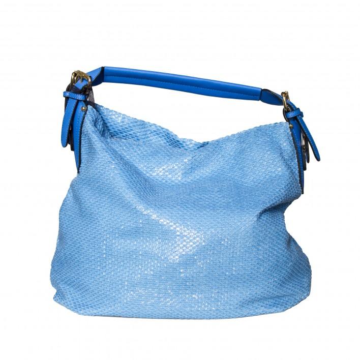 Bolso hobo de hombro en tejido azul