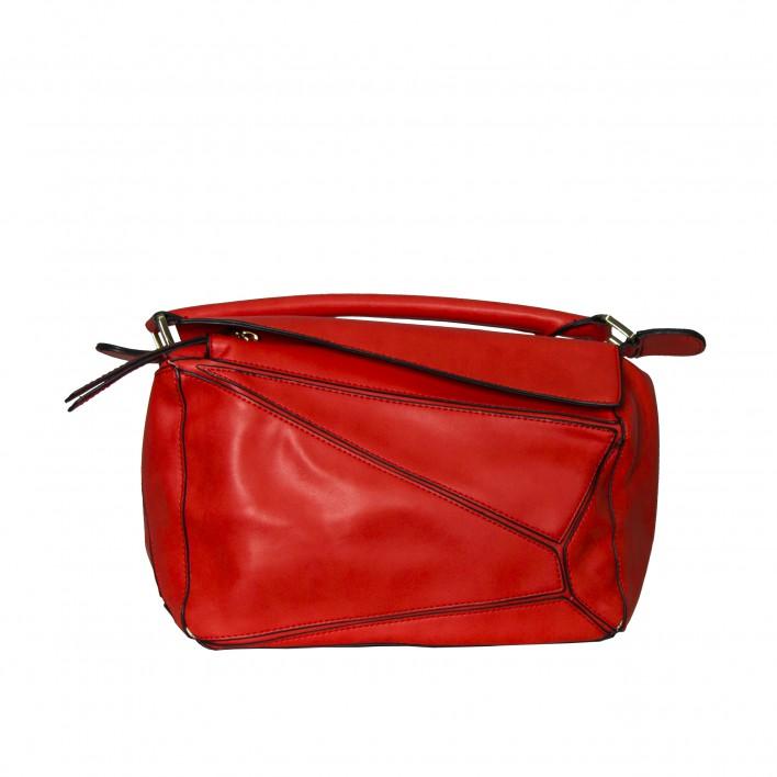 Bolso frame de mano con un asa rojo
