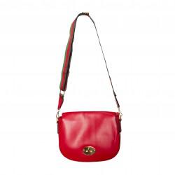 Bolso bandolera con solapa y asa en tejido multicolor rojo