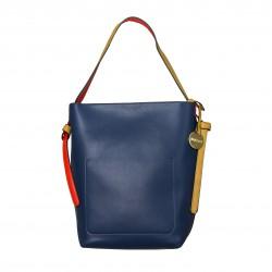 Bolso tote de hombro multicolor rojo/azul/camel