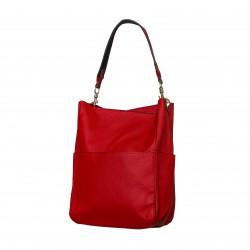 Bolso tote de hombro con bolsillo plano delantero rojo