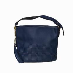 Bolso hobo de hombro con trenzado delantero azul marino