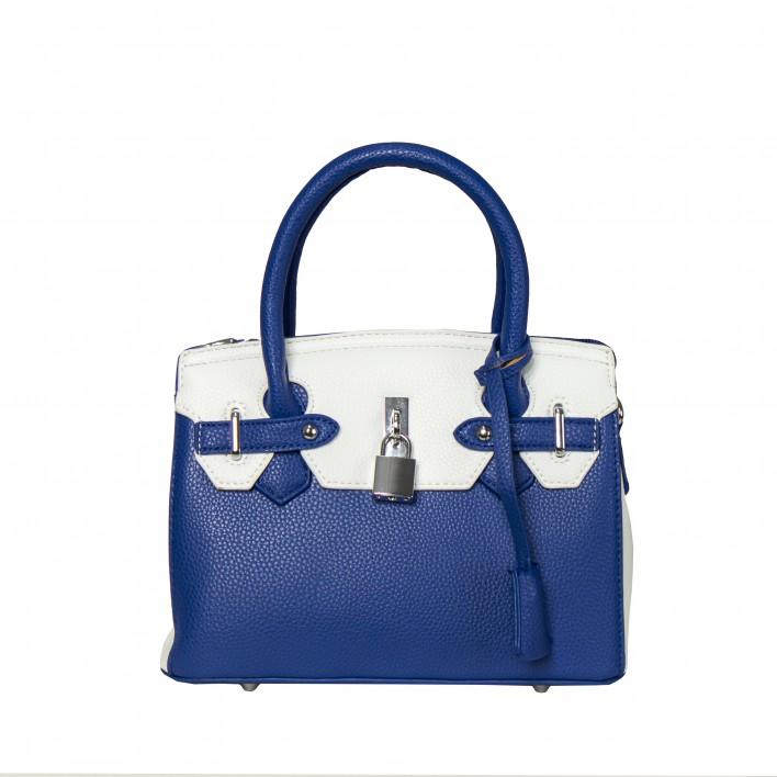 Bolso frame bicolor pequeño candado azul/blanco