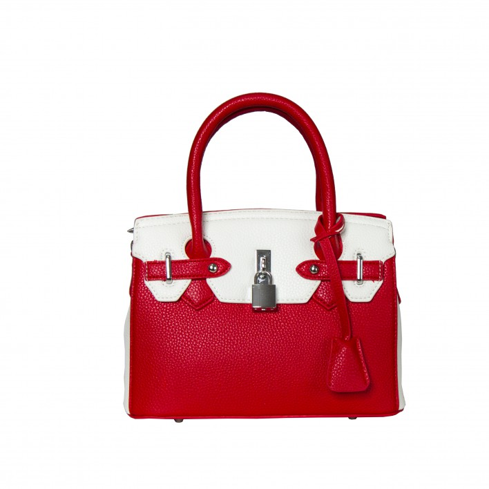 Bolso frame bicolor pequeño candado rojo/blanco