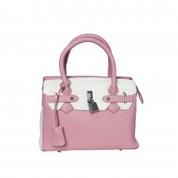 Bolso frame bicolor pequeño candado rosa/blanco