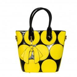 Bolso tote de mano negro con circulos amarillos