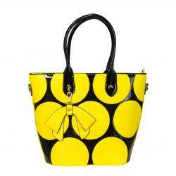 Bolso tote de mano mediano negro con circulos amarillos