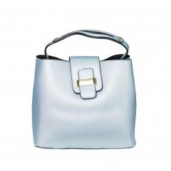 Bolso frame de mano con solapa azul claro
