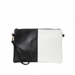 Bolso clutch cartera de mano bicolor negro/blanco