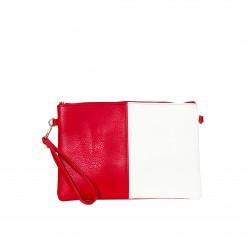 Bolso clutch cartera de mano bicolor rojo/blanco