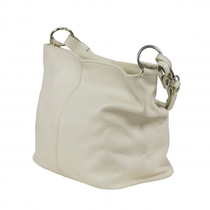 Bolso tote de hombro doble asa liso 100%PIEL MADE IN ITALY blanco
