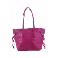 Bolso tote shopping serpiente 100% PIEL MADE IN ITALY fucsia