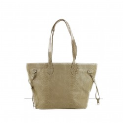Bolso tote shopping serpiente 100% PIEL MADE IN ITALY rosa nude