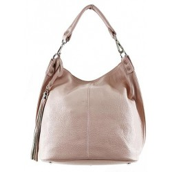 Bolso tote shopping con borla. PIEL 100% MADE IN ITALY rosa palo