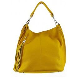 Bolso tote shopping con borla. PIEL 100% MADE IN ITALY amarillo