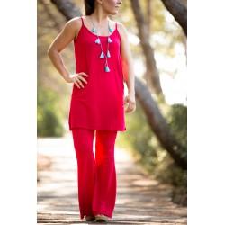 Conjunto dos piezas pantalón fluido + cuerpo largo tirantes rojo MANOLITA FALDOTAS