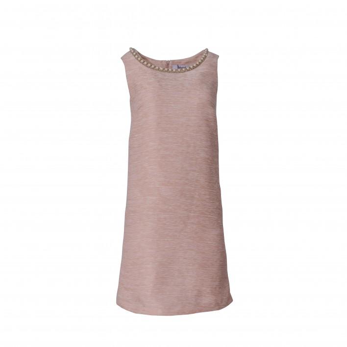 Vestido recto sin mangas cuello perlas rosa BLUMARINE
